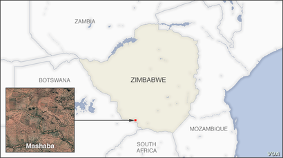 Map of Mashaba Zimbabwe