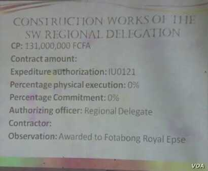 Statistics seen in the English-speaking town of Buea indicate most projects have not taken off, Aug. 1, 2019. (Moki Kindzeka/VOA)