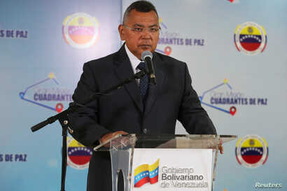 Venezuela's Interior and Justice Minister Nestor Reverol takes part in a broadcast in Caracas, Venezuela March 21, 2019.