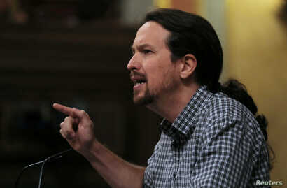 Unidas Podemos'  leader Pablo Iglesias speaks during the investiture debate at the Parliament in Madrid, Spain, July 22, 2019.
