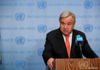 United Nations Secretary-General Antonio Guterres speaks at the Security Council stakeout at the United Nations headquarters in New York, Aug. 1, 2019.