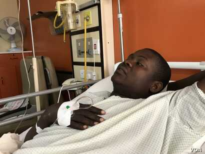 Tatenda Mombeyarara, the leader of the activist group Citizens Manifesto, is recovering in a private hospital in Harare, Zimbabwe, Aug. 28, 2019. (Photo: C. Mavhunga / VOA)
