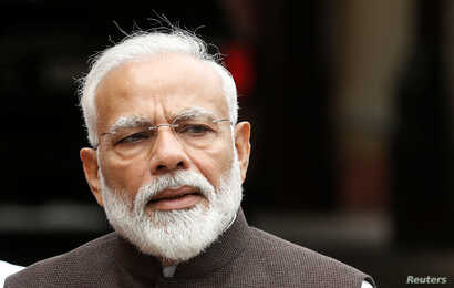 India's Prime Minister Narendra Modi speaks with the media on the opening day of the parliament session in New Delhi, India, June 17, 2019.