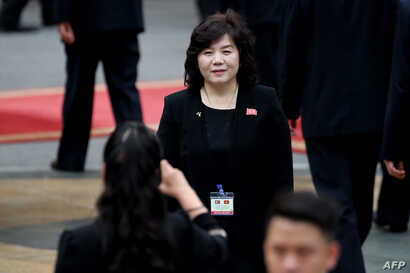 FILE - North Korean Vice Minister of Foreign Affairs Choe Son Hui attends the welcome ceremony of North Korea's leader Kim Jong Un (not pictured) at the Presidential Palace in Hanoi, March 1, 2019.