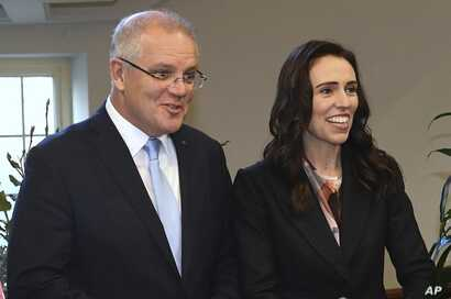 New Zealand's Prime Minister Jacinda Ardern, right, and Australian Prime Minister Scott Morrison in Melbourne, Australia, July 19, 2019. Their countries are tackling online extremism and the threat of radicalization on the internet.