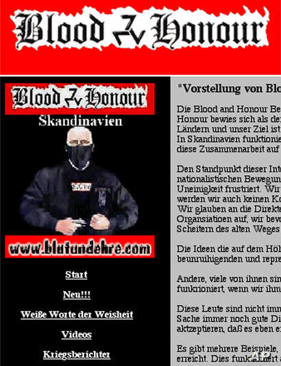 FILE - An internet screenshot taken Sept. 14, 2000, shows part of the homepage of the Skandinavian division of the international white supremacist group called Blood & Honour.