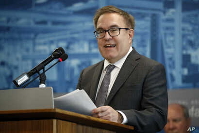 Environmental Protection Agency Administrator Andrew Wheeler speaks at a news conference in Washington, Sept. 12, 2019.