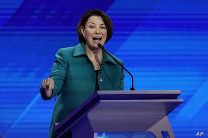 Democratic presidential candidate Sen. Amy Klobuchar, D-Minn., answers a question, Sept. 12, 2019, during a Democratic presidential primary debate at Texas Southern University in Houston.