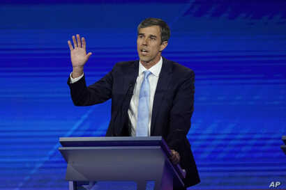 Democratic presidential candidate former Texas Rep. Beto O'Rourke answers a question, Sept. 12, 2019, during a Democratic presidential primary debate hosted by ABC at Texas Southern University in Houston.