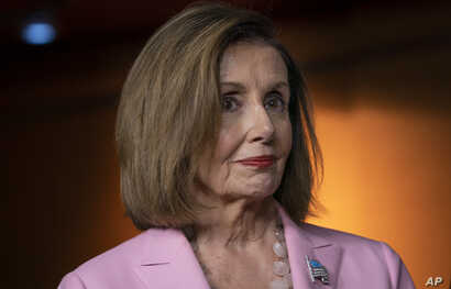 House Speaker Nancy Pelosi, D-Calif., leads other House Democrats to discuss H.R. 1, the For the People Act, which passed in the House but is being held up in the Senate, at the Capitol in Washington, Sept. 27, 2019.