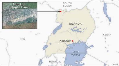 Map of Bidi Bidi Refugee Camp, Uganda