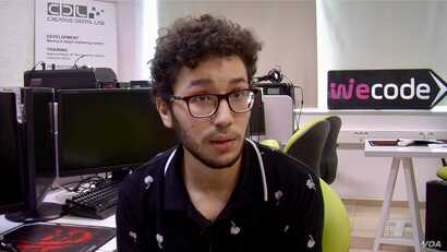 Computer science student Anes Nouri, enrolled in the WeCode program, wants to launch a startup. (L. Bryant/VOA)