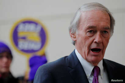 U.S. Senator Ed Markey (D-MA) speaks about federal government employees working without pay and workers trying to unionize at Logan Airport in Boston, Jan. 21, 2019.