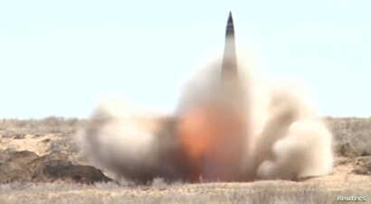 FILE - A still image, taken from a video footage and released by Russia's Defense Ministry on Aug. 31, 2019, shows a nuclear-capable short-range Iskander missile at the Kapustin Yar military shooting range near Astrakhan, Russia.