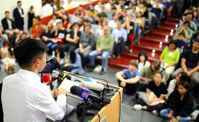 FILE - Hong Kong's pro-democracy activist Joshua Wong speaks to students at the Humboldt University in Berlin, Germany, Sept. 11, 2019.