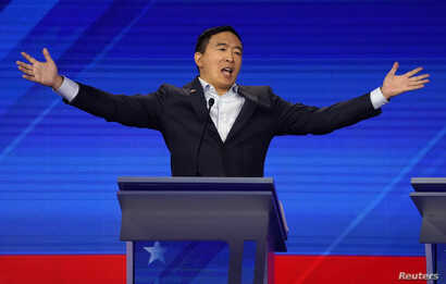 Entrepreneur Andrew Yang reacts at the 2020 Democratic U.S. presidential debate in Houston, Sept. 12, 2019.