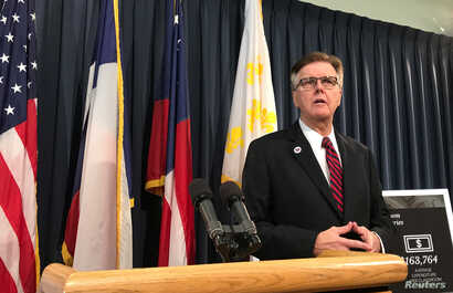 FILE - Republican Texas Lt. Gov. Dan Patrick speaks at a news conference inside the Texas Capitol in Austin, Texas, July 14, 2017.