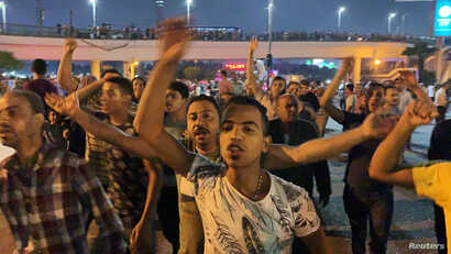 Small groups of protesters gather in central Cairo shouting anti-government slogans, Sept. 20, 2019.