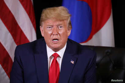 U.S. President Donald Trump speaks on the sidelines of the annual United Nations General Assembly in New York City, New York, Sept. 23, 2019.