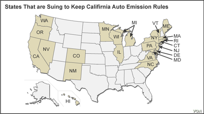 Map of States Suing Over Auto Emissions Rules