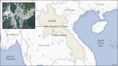 Map of Xayaburi Dam, Laos