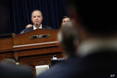 Chairman Rep. Adam Schiff, a Democrat, speaks during testimony by Acting Director of National Intelligence Joseph Maguire before the House Intelligence Committee, on Capitol Hill in Washington, Sept. 26, 2019.