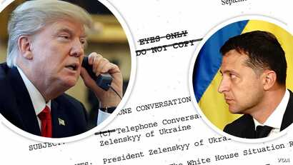 Photo illustration with photos of Presidents Trump and Zelensky superimposed over the transcript of their July 25 phone call.