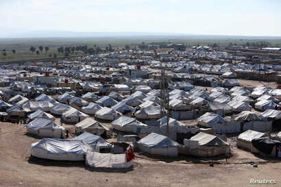 FILE - An April 2, 2019, photo shows a general view of the al-Hol displacement camp in Hasaka governorate, Syria.
