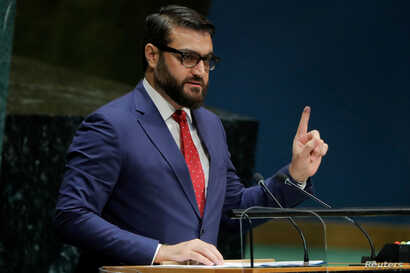 Afghanistan's National Security Advisor Hamdullah Mohib addresses the 74th session of the United Nations General Assembly at U.N. headquarters in New York City, New York, Sept. 30, 2019.