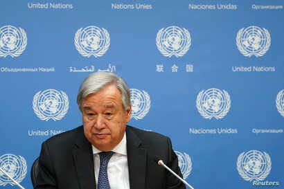Secretary-General of the United Nations Antonio Guterres speaks to the press at United Nations headquarters in New York, Sept. 18, 2019.