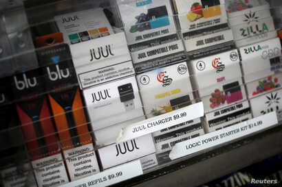 Vaping products are seen for sale at a shop in Manhattan in New York, Sept. 10, 2019.