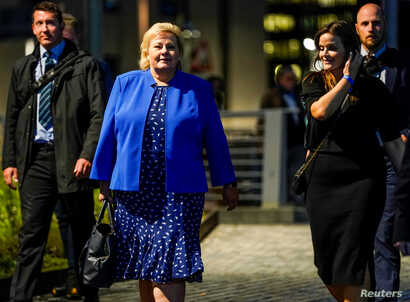 Norway's Prime Minister Erna Solberg walks to her party's election vigil after local elections, in Oslo, Norway, Sept. 9, 2019.