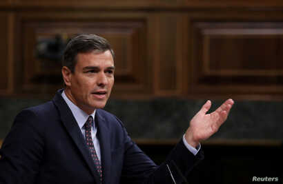 FILE - Spain's acting Prime Minister Pedro Sanchez speaks during a plenary session at Parliament in Madrid, Spain, Sept. 11, 2019.