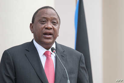 Kenya's President Uhuru Kenyatta speaks during a joint press conference with South Sudan's President at State House in Nairobi…