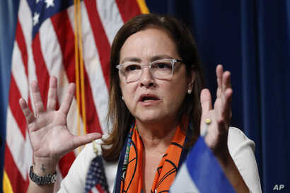 El Salvador Foreign Affairs Minister Alexandra Hill  speaks during a news conference with acting Secretary of Homeland Security…