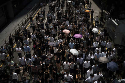 Anti-government protesters march at Central district in Hong Kong, Oct. 2, 2019.