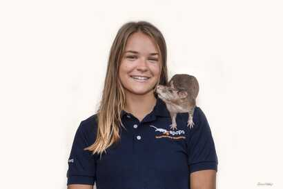 American researcher Ellie Cutright works with African giant pouched rats that are trained to detect landmines.