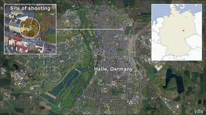 Map of shooting site in Halle, Germany