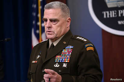 U.S. Joint Chiefs Chairman Gen. Mark Milley addresses reporters at the Pentagon in Arlington, Va., Oct. 11, 2019.