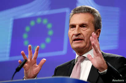 EU Budget and Human Resources Commissioner Gunther Oettinger addresses a news conference on the Multiannual Financial Framework…
