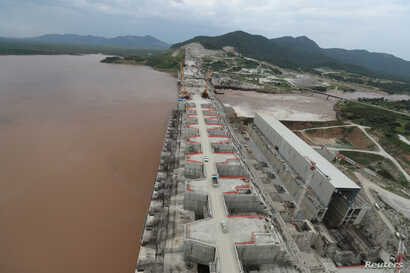 Ethiopia's Grand Renaissance Dam is seen as it undergoes construction work on the river Nile in Guba Woreda, Benishangul Gumuz…