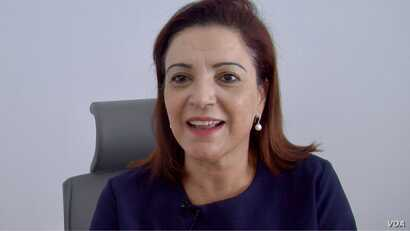 Sana Ghenima heads an association trying to get Tunisian women more politically active.  (L. Bryant/VOA)