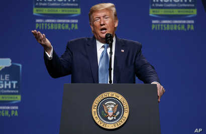 President Donald Trump speaks at the 9th annual Shale Insight Conference at the David L. Lawrence Convention Center, Oct. 23, 2019, in Pittsburgh.