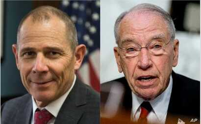 From left, Congressman John Curtis of Utah and Senator Chuck Grassley of Iowa.