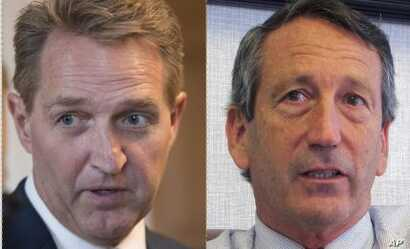 From left, former Senator Jeff Flake of Arizona and former South Carolina Governor Mark Sanford.
