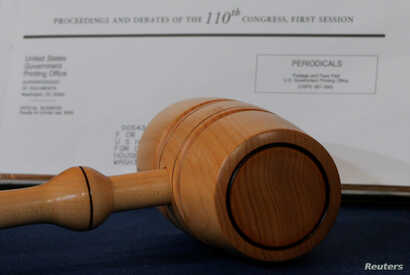 FILE - A congressional gavel is displayed at the Smithsonian Museum in Washington, March 7, 2018.