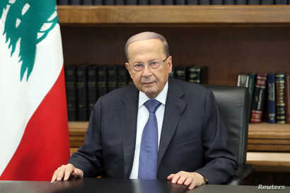 Lebanon's President Michel Aoun addresses the nation at the Baabda palace, Oct. 24, 2019.
