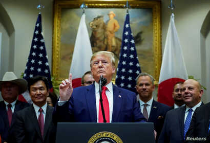 U.S. President Donald Trump speaks about Turkey and Syriaat the White House in Washington, Oct. 7, 2019.