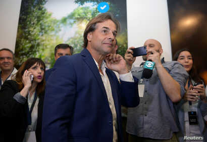 Uruguay's presidential candidate Luis Lacalle Pou reacts, in Montevideo, Uruguay, Oct. 27, 2019.