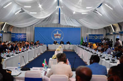 Participants of the Somali Partnership Forum, a two-day meeting between Somali leaders and international community, are seen in Mogadishu, Somalia. (Source - Twitter @US2SOMALIA)